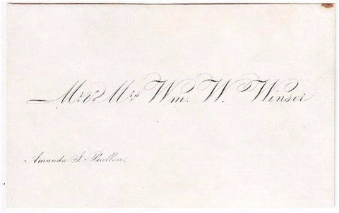 1852 William Waterman Winsor & Amanda Jane Ballou Wedding Calling Card