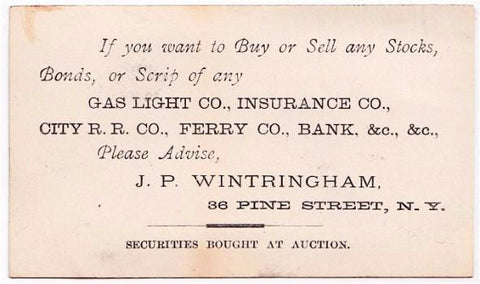 1890 Joseph Parker Wintringham Business Card Brooklyn NY Stock Broker