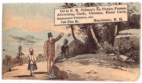 1870's Elias Coburn Book Seller Advertising Trade Card, Manchester NH