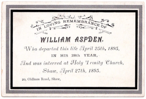 1895 William Aspden Victorian Mourning Card, Shaw Oldham Lancashire UK