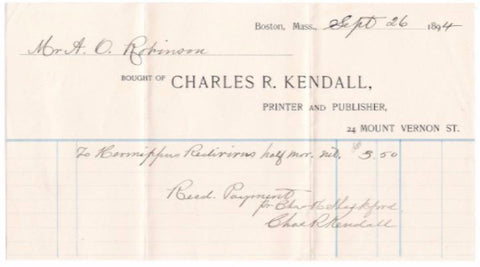 1894 Charles Kendall & Charles Shackford Printing Co. Billhead, Boston
