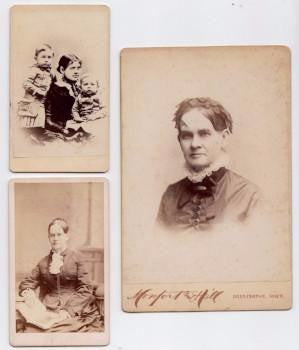 1880 3 Photos: Mrs Luke Palmer, Sarah Campbell Palmer, Burlington Iowa