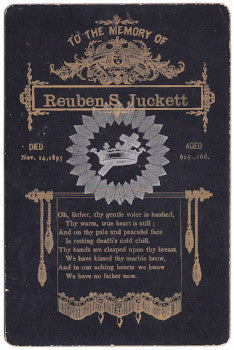 1895 Reuben Juckett Funeral Card, Indian Lake, Hamilton County NY