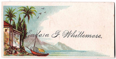 1890's Eudora F. Whittemore Victorian Calling Card, wife Herman Childs