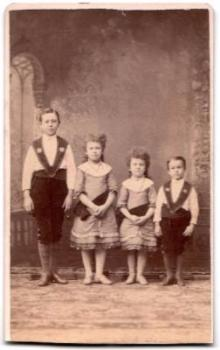 1870's Abel Hurtt Juvenile Quartet CDV Photo, Traveling Band Singers