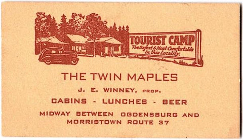 Adirondacks: 1940's Jay Winney, Twin Maples Tourist Camp Ogdensburg NY