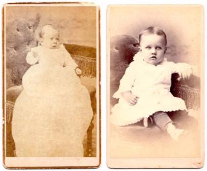 1870's Irving Relyea Blood & Bessie Blood Robinson 2 CDV Photos, Conn.