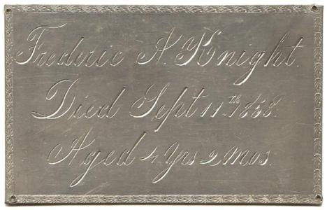 1858 Frederic A. Knight, 4 years old, Antique Victorian Coffin Plate