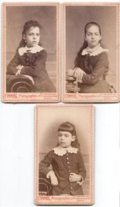 1880's Oliver Everet Wood's 3 Daughters CDV Photos, Plymouth, Mass