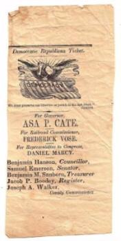 1859 Asa Piper Cate Political Governor Ticket, Northfield New Hampshire