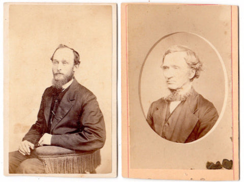 1870s George Emerson Prutsman & his Father Abram Prutsman 2 CDV Photos