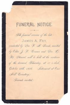 1886 James Augustus Fry Funeral Card, Rushville, Rush County, Indiana