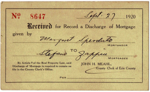 1920 Margaret Sperduto to Stefano Zappia Mortgage Document, Buffalo NY