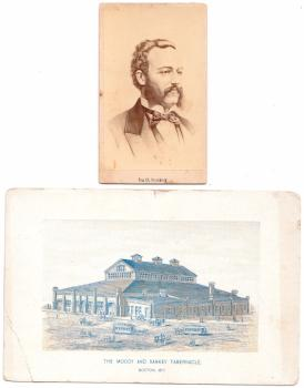 1877 Ira Sankey CDV Photo & Dwight Moody & Boston Tabernacle Ad