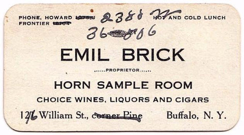 1915 Emil Brick, Owner Horn Sample Room Bar, Buffalo Erie County NY
