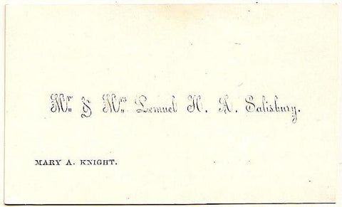 1858 Lemuel Salisbury & Mary Knight Wedding Card, Foster, Rhode Island