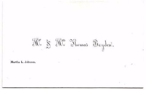 1855 Thomas Boyden, Martha L Johnson Victorian Calling Card Foxboro MA
