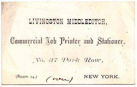 1880's Livingston Middleditch, Law Printer Original NYC Business Card