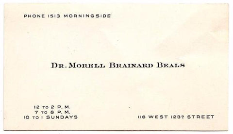 1910 Dr. Morell Brainard Beals Physician NYC Eye Doctor Business Card