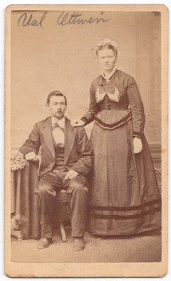 1877 Valentin Ottwein, Anna Schlaefer CDV Photo, Marine, Madison IL