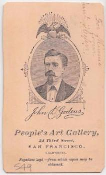 1877 CDV Photo by John Godeus, San Francisco CA Photographer, Backmark