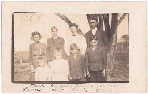 1910 Carrie & Elmer Adamson RPPC Family Photo, Appanoose County Iowa
