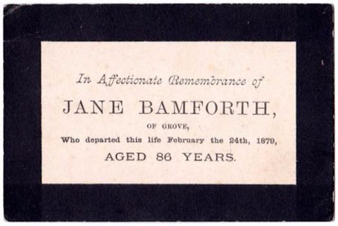 1879 Jane Bamforth Victorian Mourning Card, Retford Nottinghamshire UK
