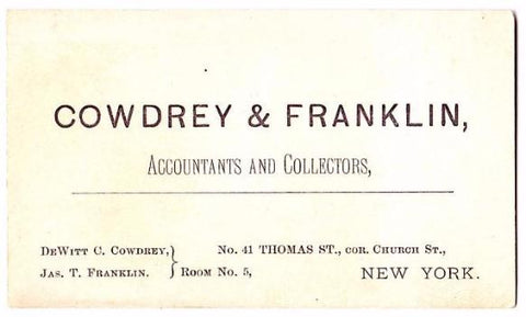 1880's Dewitt Cowdrey & James Franklin Business Card, Accountants NYC