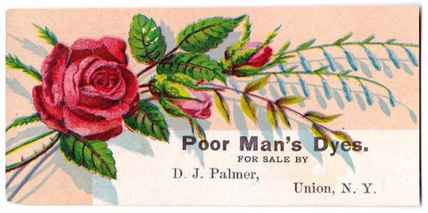 1880's Druggist (Daniel) D.J. Palmer Advertising Trade Card, Union NY