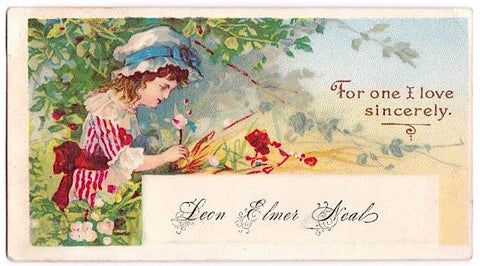 1890's Leon Elmer Neal, Fitchburg, Worcester MA Victorian Calling Card
