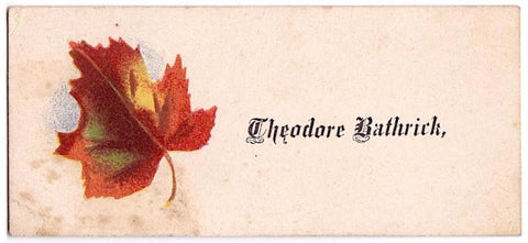 1870's Theodore Bathrick Family Victorian Calling Card, Found in NY
