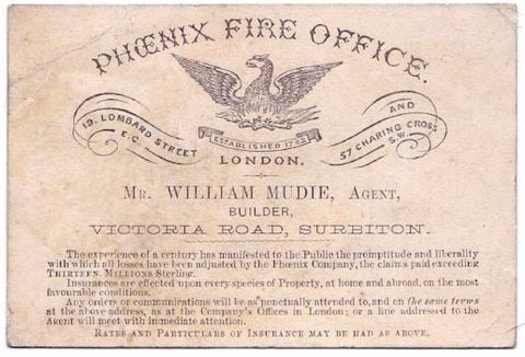 1880's William Mudie Antique Insurance Business Card, Surbiton England