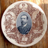 1900 Paul Déroulède French Nationalist Vintage Plate by Sarreguemines