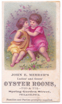 1880's John Mehrer Oyster Rooms Advertising Trade Card, Philadelphia