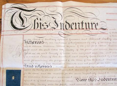 1856 John Sobey Luskey & Elizabeth Lakeman, Devon UK, Vellum Indenture