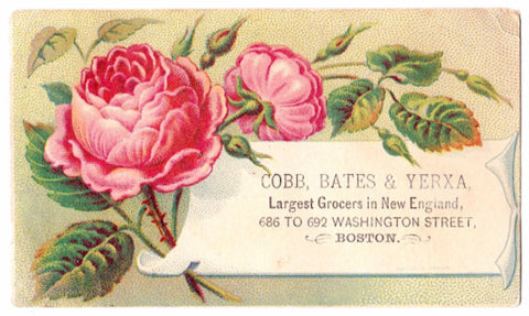 1880's Cobb Bates & Yerxa Grocers Advertising Trade Card, Boston, MA