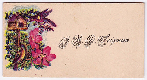 1880's J.W.D. Seigman Victorian calling card, Hagerstown, MD