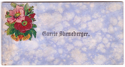 1880's Carrie Sheneberger Original Vintage Victorian Calling Card