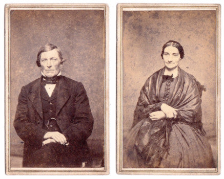1860 William & Catherine Jones 2 CDV Photos, Cambria, WI (from Wales)