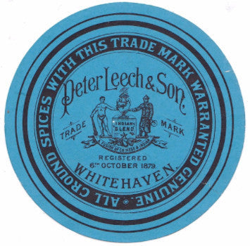 1890's Peter Leech & Son Spices Advertising Label, Whitehaven, England