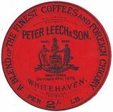 1890's Peter Leech & Son Coffee Advertising Label, Whitehaven, England