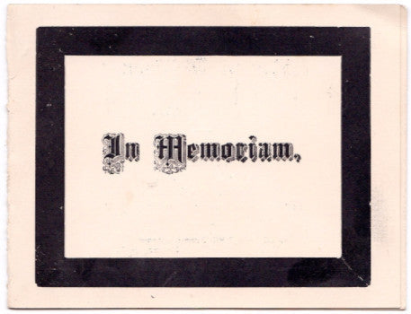 1891 Naomi Willson Kester Victorian Mourning Card Eden, Erie County NY