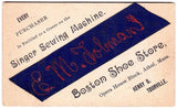 1890 Henry Tourville Store, Singer Sewing Machine Trade Card Athol MA