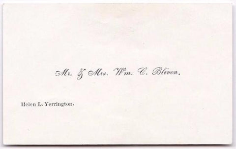 1856 William Bliven, Helen Yerrington Victorian Wedding Calling Card