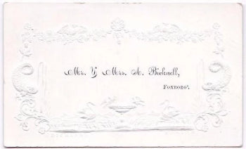 1840's A. Bicknell Victorian Calling Card, Foxboro, Norfolk County, MA