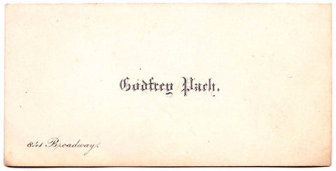 1880's Photographer Godfrey Pach Vintage Business Card, NYC New Jersey