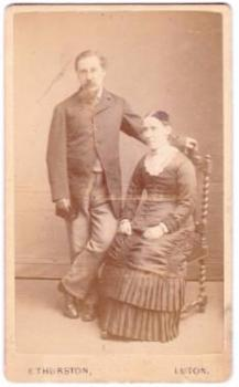1870's Katherine & Edward Albert Ayre CDV Photo, Luton, England UK