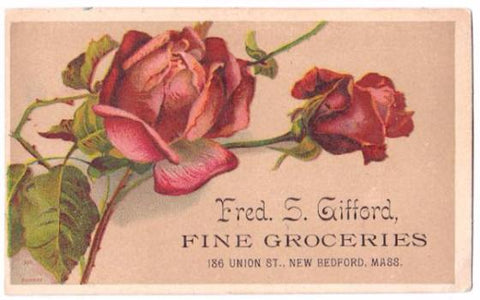 1870's Fred S. Gifford Advertising Trade Card, Grocer, New Bedford MA