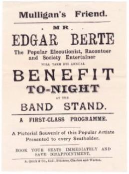 c. 1900 Edgar Berte Performer Humorist Advertising Flyer, England UK