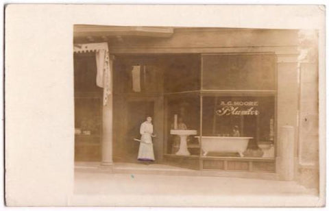 1915 A.G. Moore RPPC Photo, Toledo, Ohio Plumber (Albert G. Moore)